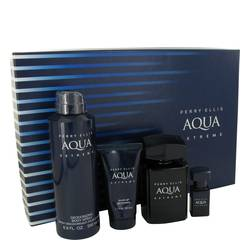 Perry Ellis Aqua Extreme Cologne by Perry Ellis -- Gift Set - 3.4 oz Eau De Toilette Spray + .25 oz Mini EDT Spray + 6.8 oz Body Spray + 1.7 oz Shower Gel