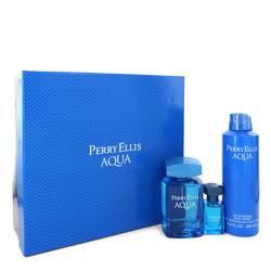 Perry Ellis Aqua Cologne by Perry Ellis -- Gift Set - 3.4 oz Eau DE Toilette Spray + 0.5 oz Mini EDT Spray + 6.8 oz Deodorant Spray