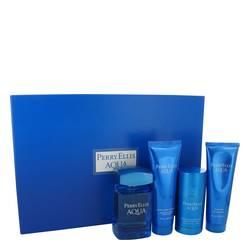 Perry Ellis Aqua Cologne by Perry Ellis -- Gift Set - 3.4 oz Eau De Toilette Spray + 2.75 oz Deodorant Stick + 3 oz After Shave Gel + 3 oz Shower Gel