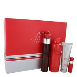 Perry Ellis 360 Red Cologne by Perry Ellis -- Gift Set - 3.4 oz Eau De Toilette Spray + .25 oz Mini EDT Spray + 6.8 oz Body Spray + 3 oz Shower Gel