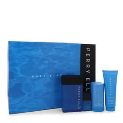 Perry Ellis Pure Blue Cologne by Perry Ellis -- Gift Set - 3.4 oz Eau De Toilette Spray + 3 oz Shower Gel + 2.75 oz Deodorant Stick + .25 oz Travel EDT Spray