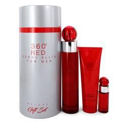 Perry Ellis 360 Red Cologne by Perry Ellis -- Gift Set - 3.4 oz Eau De Toilette Spray + .25 oz Mini EDT Spray + 3 oz Shower Gel in Tube Box