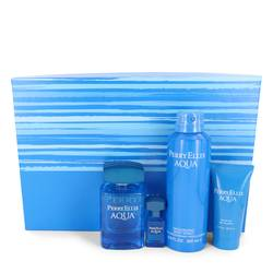 Perry Ellis Aqua Cologne by Perry Ellis -- Gift Set - 3.4 oz Eau De Toilette Spray + .25 oz Mini EDT Spray + 6.8 oz Body Spray + 1.7 oz Shower Gel
