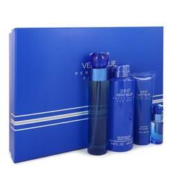 Perry Ellis 360 Very Blue Cologne by Perry Ellis -- Gift Set - 3.4 oz Eau De Toilette Spray + .25 oz Mini EDT Spray + 3 oz Shower Gel + 6.8 oz Body Spray