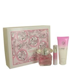 Bright Crystal Perfume by Versace -- Gift Set - 3 oz Eau De Toilette Spray + 0.3 oz Min EDT Spray + 3.4 oz Body Lotion