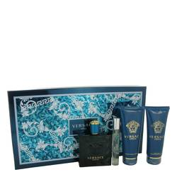 Versace Eros Cologne by Versace -- Gift Set - 3.4 oz Eau De Toilette Spray + 0.3 oz Mini EDT Spray + 3.4 oz After Shave Balm + 3.4 oz Shower Gel