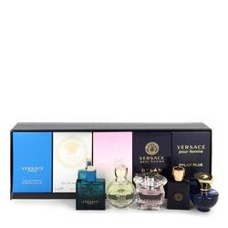 Versace Eros Perfume by Versace -- Gift Set - The Best of Versace Men's and Women's Miniatures Collection Includes Versace Eros, Versace Pour Homme Dylan Blue, Versace Pour Femme Dylan Blue, Bright Crystal and Versace Eros Pour Femme