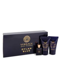 Versace Pour Homme Dylan Blue Cologne by Versace -- Gift Set - 0.17 oz Mini EDT + 0.8 oz After Shave Balm + 0.8 oz Shower Gel