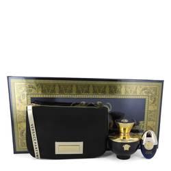 Versace Pour Femme Dylan Blue Perfume by Versace -- Gift Set - 3.4 oz Eau De Parfum Spray + 0.3 oz Mini EDP Spray in Versace Black & Gold Pouch