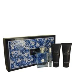 Versace Pour Homme Cologne by Versace -- Gift Set - 3.4 oz Eau De Toilette Spray + 0.3 oz Mini EDT Spray + 3.4 oz After Shave Balm + 3.4 oz Hair & Body Shampoo
