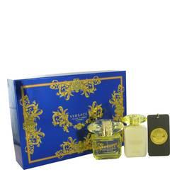 Versace Yellow Diamond Intense Perfume by Versace -- Gift Set - 3 oz Eau De Parfum Spray + 3.4 oz Body Lotion + Versace Bag Tag